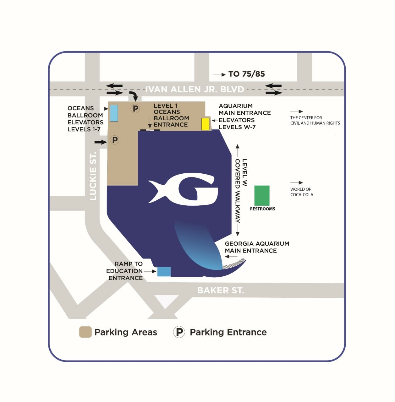 Georgia Aquarium Parking Map